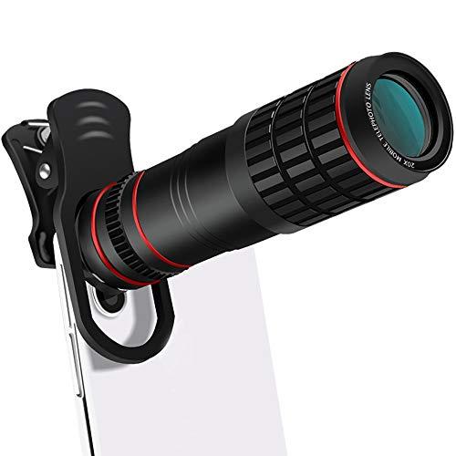 Dewanxin Lente de Cámara para Teléfono, Teleobjetivo para Movil 20X, Telescopio Monocular con Clip, Compatible con la Mayoría de los Teléfonos Inteligentes, Adecuado para iPhone Android Smartphone