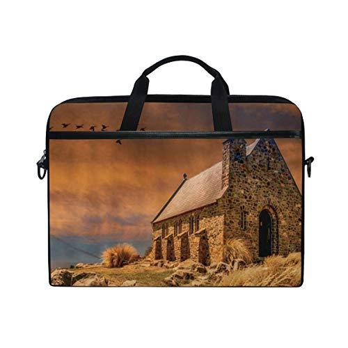 VICAFUCI New 15-15.4 Zoll Laptop Tasche,Umhängetasche,Handtasche,Ländliches Haus-rustikales Scenenry-Ziegelstein-Kamin-Bauernhaus, das zu den Fantasie-Himmel-Vogel-Hochebenen-Unkräutern schließt