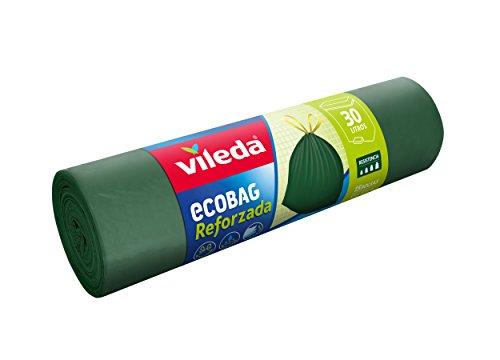 Vileda Ecobag Reforzada Bolsa de Basura, 15 Unidades, Plástico, Verde, 6x6x21.5 cm