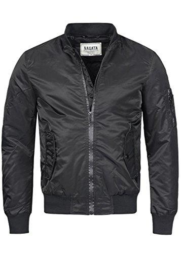 Nagata Herren Bomber Jacke 70171101, Strickbund, Taschen Patte, Tape-Zipper, schwarz, Gr:XXL