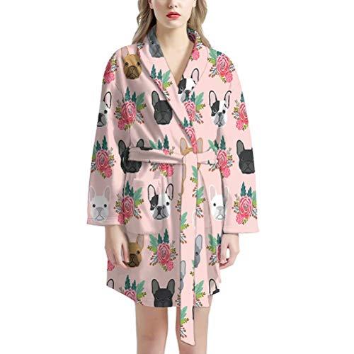 AFPANQZ Women Bathrobe Long Sleeve French Bulldog Print Kimono Robe Knee Length Lightweight Soft Sleepwear with Two Front Pocket Self Tie Medium Spa Pool Robe Large Pink Floral
