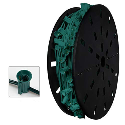 Commercial C9 500' Christmas Light Sockets Set Spool - 12' Spacing Green Wire, UL Listed