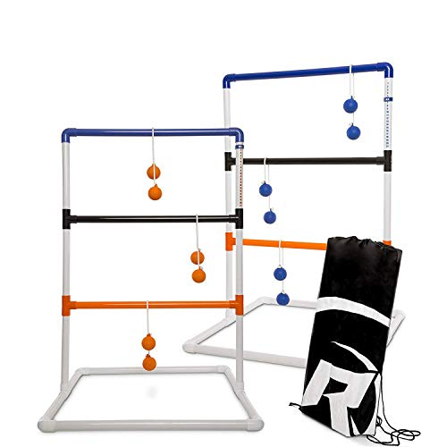 Rally and Roar Premium Ladder Ball Toss Game for Adults, Family - Outdoor Ladders Set with Canvas Bag, Resin Bolos, and Thick PVC Piping - Backyard Games, Activities for Parties - Pro Series