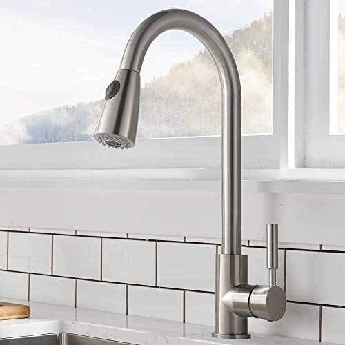 Comllen Commercial Single Handle High Arc Brushed Nickel Pull Out Kitchen Faucet ,Single Level Stainless Steel Kitchen Sink Faucets with Pull Down Sprayer Without Deck Plate