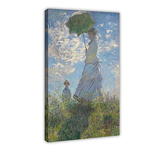 Póster de lona para mujer con sombrilla, decoración de dormitorio, paisaje, oficina, decoración de habitación, marco de regalo, 50 x 75 cm