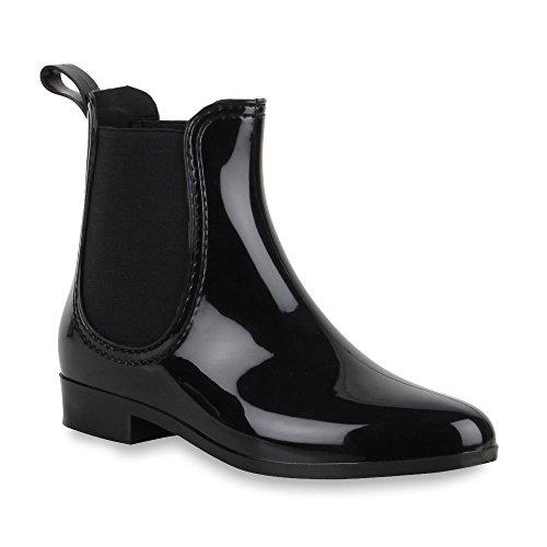 Damen Lack Stiefeletten Gummistiefel Chelsea Boots Schuhe 47275 Schwarz Bernice 36 Flandell