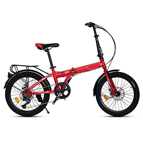 ZHEDYI Adultos De 20 Pulgadas Bicicleta Plegable De Velocidad Variable, Bicicleta De Montaña Bicicletas Todo Terreno, Bicicleta Ligera Estructura De Aluminio, Frenos De Disco, Bicicleta Niño