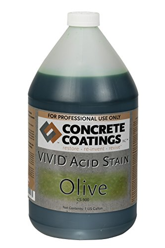 CC Concrete Coatings Vivid Acid Stain for Antique Marble Effect, Concrete Stain for Inside or Outside, Commercial or Residential Use (Olive Mossy Green, 1 Gal)
