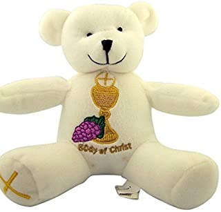 First Communion Teddy Bear with Embroidered Chalice and Cross, 6 Inch [並行輸入品]