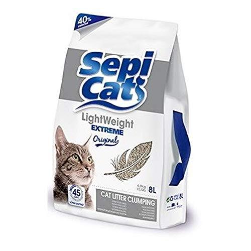 Global Sable pour chats 8 litres | Sable absorbant Sepicat Lightweight Extreme Original | Sable absorbant pour animaux de compagnie