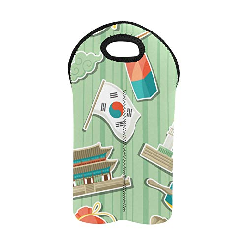 Reise Weintasche Mode Kimchi Koreanischer Chinakohl Picknick-Einkaufstasche Doppelflaschenträger Weinträger-Einkaufstasche Dicker Neopren-Weinflaschenhalter hält Flaschen geschützt