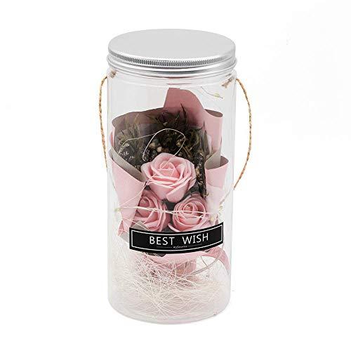 Yaowo Aromaterapia Rosa con Luz LED Flor De Jabón Botella De Plástico Flor Artificial Día De San Valentín Día De La Madre (Rosa)