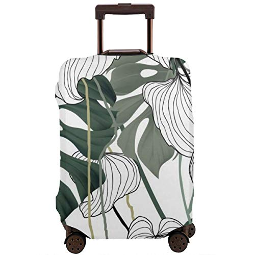 Travel Suitcase Protector,Floral Seamless Pattern Green Black and White Split-Leaf Philodendron Plant with Vines On White Background Pastel Vintage Theme,Suitcase Cover Washable Luggage Cover L