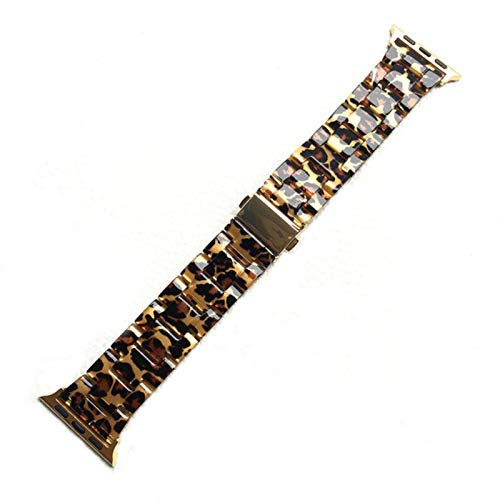 Pulsera de resina para Apple Watch 5 Band 44mm Para Iwatch 42mm Series 5 4 3 2 1 Correa Accesorios de muñeca Bucle 40mm Reemplazo de correa de reloj-Leopard, 38mm 40mm
