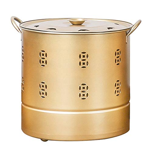QILIN Verbrennungsfass aus Edelstahl, groß, 360° Universalrad, zum Verbrennen von Müll, Papier, Blättern, mehrere Größen, Gold