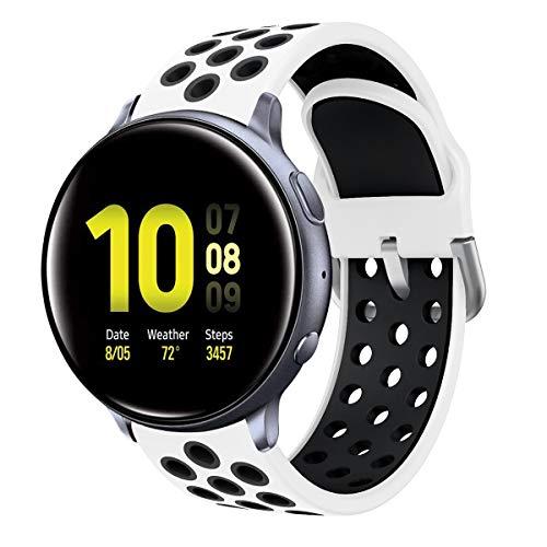 Syxinn Kompatibel mit 20mm Armband Galaxy Watch Active/Active 2 40mm 44mm/Galaxy Watch 3 41mm Armband Uhrenarmband Silikon Sportarmband für Galaxy Watch 42mm/Gear Sport/Gear S2 Classic/Huawei Watch 2