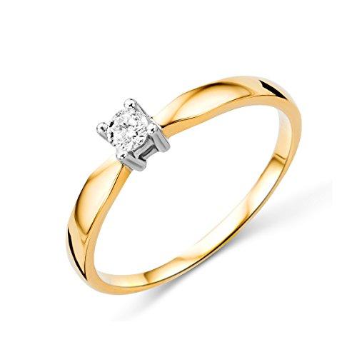 Miore anillo solitario para mujer 14 k 585 oro bicolor 14 quilates con diamante naturale 0.10 quilates