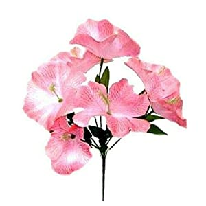 5X Hibiscus Artificial Silk Flowers Centerpiece Fake Bouquet Party Tropical-Pink