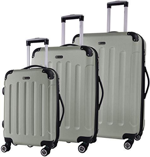 Shaik® koffer met harde schaal, trolley, reiskoffer met TSA-slot en 4 rollen (champagne, set van 3)