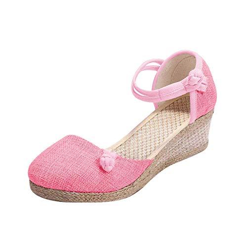 Minetom Espadrille Damen Retro Sandalen Badesandale Mode Keilabsatz Wedge Chic Bequem Schnalle Plattform Sommerschuhe Keile Schuhe Rosa 34 EU