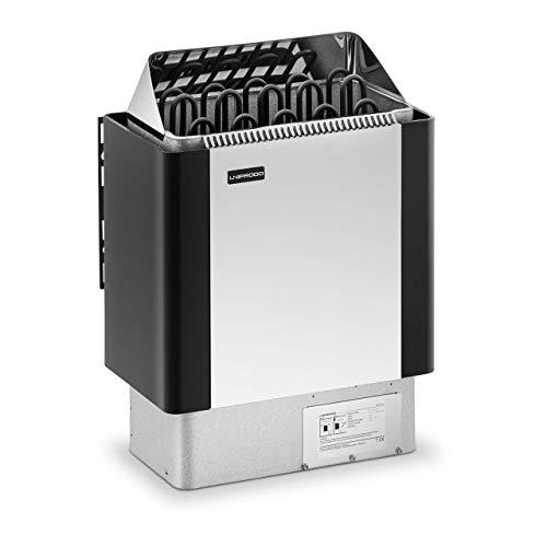 Uniprodo UNI_SAUNA_BS6.0KW Saunaofen 6 kW Edelstahlblende 30-110 °C Saunaheizung 5 bis 9 m³ Saunaofen elektro Überhitzungsschutz