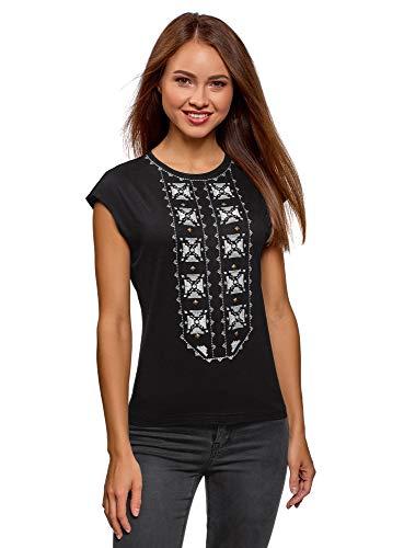 oodji Ultra Mujer Camiseta con Cuello Redondo y Bordado Decorativo, Negro, ES 34 / XXS
