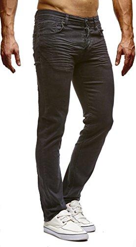 Leif Nelson Herren Jeans Hose Slim Fit Denim Blaue graue Lange Jeanshose für Männer Coole Jungen weiße Stretch Freizeithose Schwarze Cargo Chino Sommer Winter Basic LN307SC-RF Schwarz W34/L34