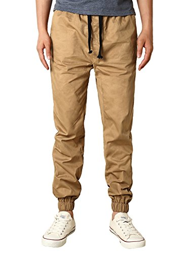HEMOON Mens Regular Fit Twill Chino Harem Jogger Pants Medium P06-Khaki