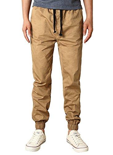 HEMOON Mens Regular Fit Twill Chino Harem Jogger Pants Medium P06-Khaki