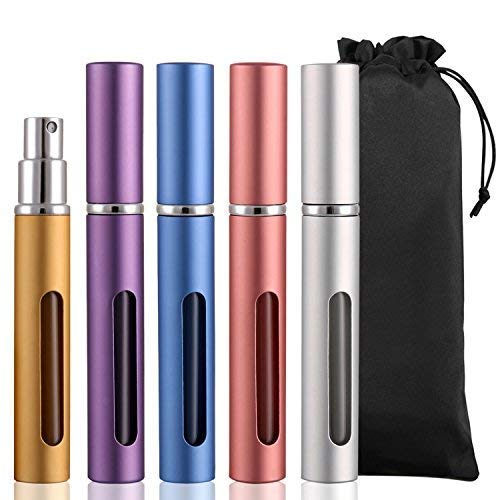 Vtrem Refillable Perfume Atomizer Pump 5 Milliliter 5PCS Mini Portable Spray Bottle With Window Travel Fragrance Empty Bottle Easy To Fill Scent Multicolor Gold, Silver, Blue, Purple, Pink