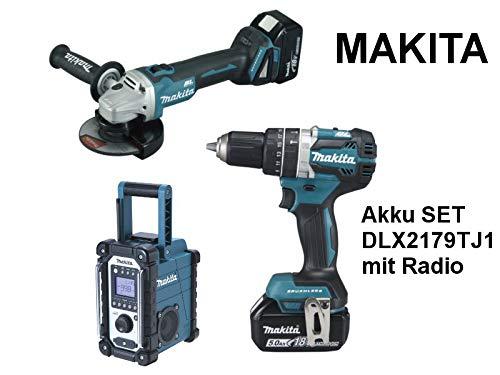 Makita DLX2179TJ1 Kombi-Set mit Akku-Winkelschleifer (18V, 5,0Ah, 125mm, ArtikelnummerDGA504Z) und Akku-Schlagbohrschrauber (ArtikelnummerDHP484Z)