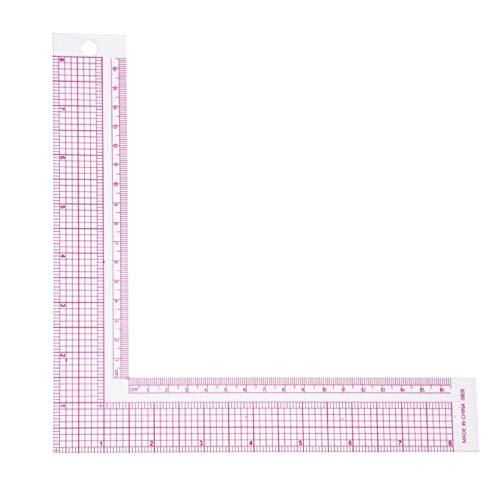 Regla de coser, regla en forma de L de plástico, regla de ángulo recto, herramienta profesional para costura (5808)