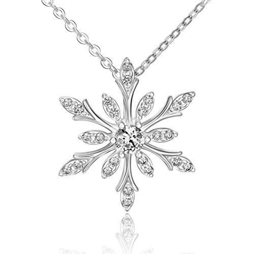 ELEGANZIA Snowflake Necklace for Women Sterling Silver Jewelry Sparkling Cubic Zirconia for Teenage Girls Mom Girlfriend