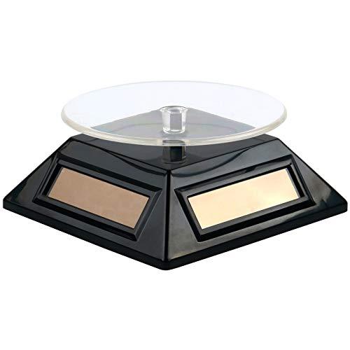 TRIXES schwarzer solarbetriebener rotierender Ständer zur Ausstellung von Allen denkbaren Produkten im Verkaufsbetrieb oder Schaufenster Kunst Schmuck Fotografie etc.