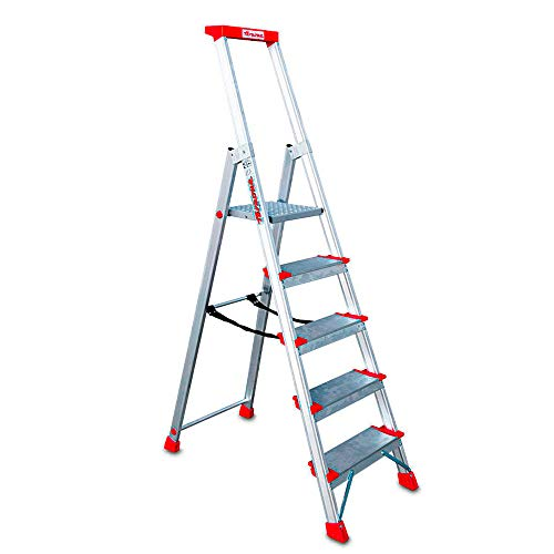 Faraone - Escalera de Aluminio EN945-5 peldaños - Escalera de Tijera Profesional - 188x48x15 cm - Con Bandeja Portaobjetos y Barandilla - Peso soportado de hasta 150 kg