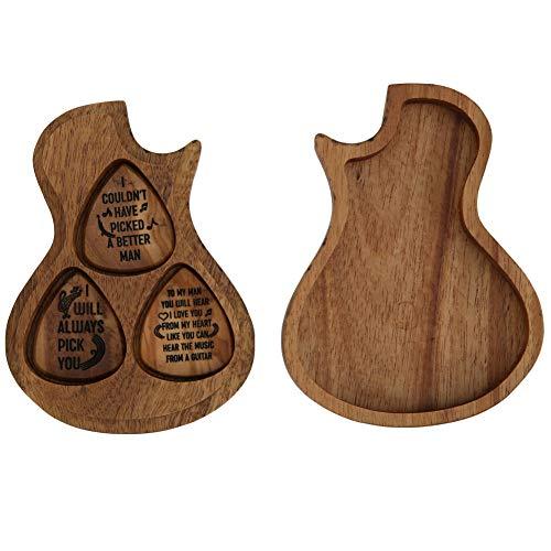 Bnineteenteam Gitarrenholz Picks Box,Guitar Shaped Plektrum-Behälter mit 3 Stück Plektren für Standard-Plektren