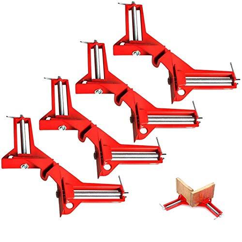 Abrazadera de ángulo derecho de 90 grados, 4 unidades, para madera y metal, para soldadura, tensor de marco, tensor de ángulo de inglete, carpintería y herramientas de mano