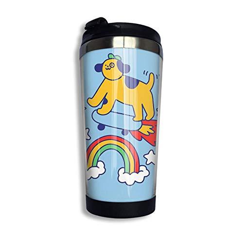 Perro volando en una patineta Razas de perros Taza de viaje personalizada azul Vaso de café de acero inoxidable Taza de café con aislamiento al vacío de doble pared Fo