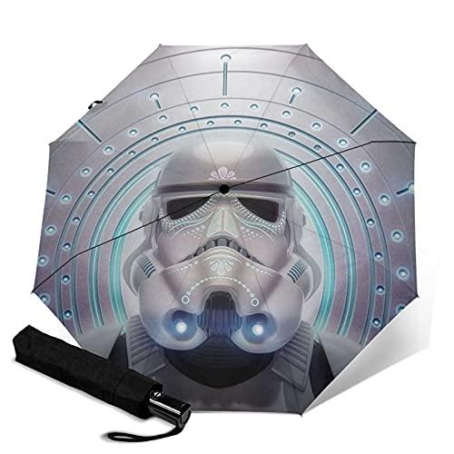 Star Mandalorian Wars Paraguas automático portátil de tres pliegues, cortavientos, impermeable, anti-UV, apertura automática/cerrada, compacta y portátil plegable