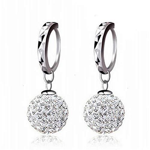 Un-brand Pendientes de aro con diamantes de imitación de oro blanco de 18 quilates para mujer