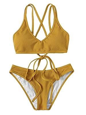 SweatyRocks Women's Bathing Suits Spaghetti Strap Criss Cross Back Bikini Ribbed Swimsuit Ginger Large
