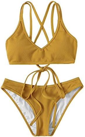 SweatyRocks Women s Bathing Suits Spaghetti Strap Criss Cross Back Bikini Ribbed Swimsuit Ginger product image