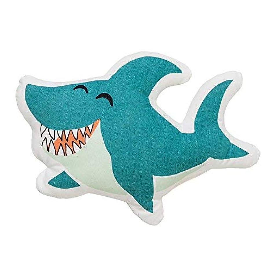 雄大なシェトランド諸島フクロウBloomingville A95506267 White & Blue Laughing Shark Shaped Pillow with Green & White Striped Back [並行輸入品]
