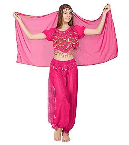 3Pcs Mujeres Danza del Vientre, Ropa India Lentejuelas para Disfraz de Princesa, Conjunto de Bailando Top Pantalones de Linterna y Cadena de la Cabeza Barbijo (Fucsia)