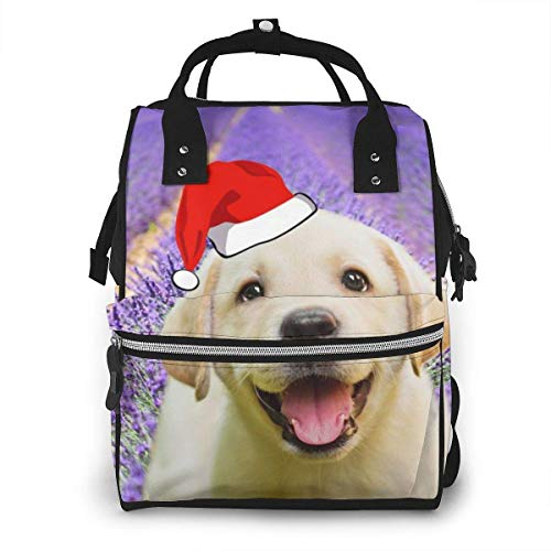 GXGZ Beau sac à dos imperméable à couches de Noël de champ de fleurs de lavande, compartiment avec deux poches et huit rangements, sacs d'allaitement élégants et durables pour les parents