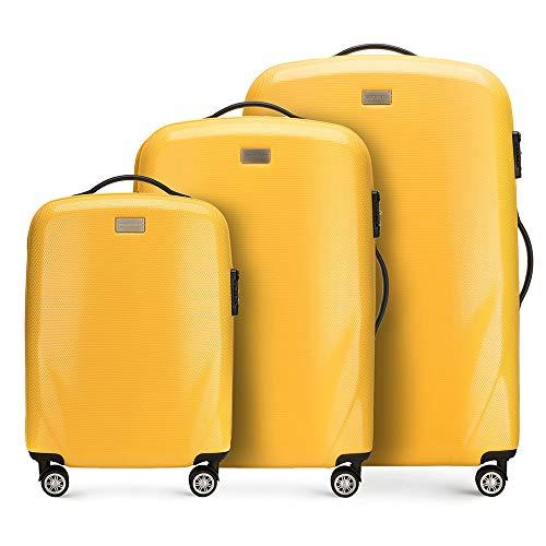 Stabiler Reisekoffer Koffer-Set Trolley von Wittchen Material polycarbonat 4 Lenkrollen Zahlenschloss 11KG Farbe Gelb