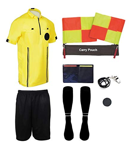 New! 2018 Pro Soccer Referee Package (9 Piece) (Yellow, Adult Small)