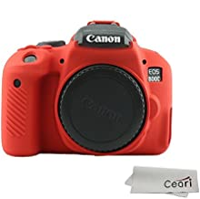CEARI Silicone Camera Case Rubber Housing Protective Cover for Canon EOS 800D Rebel T7i Digital SLR Camera - Red