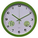 Yavso 30cm Reloj de Pared Radiocontrolado Reloj Pared Digital con Termómetro y Pronóstico del Tiempo para Cocina, Salón, Oficina (Verde)