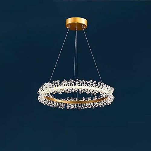 Led Lámpara Colgante de Decoración de Cristal de Anillo Creativo Luces Colgantes Mesa Comedor Con Luz Colgante Para Comedor Cobre Moderna Para Sala Estar Barra Candelabro Regulable (dorada),40CM